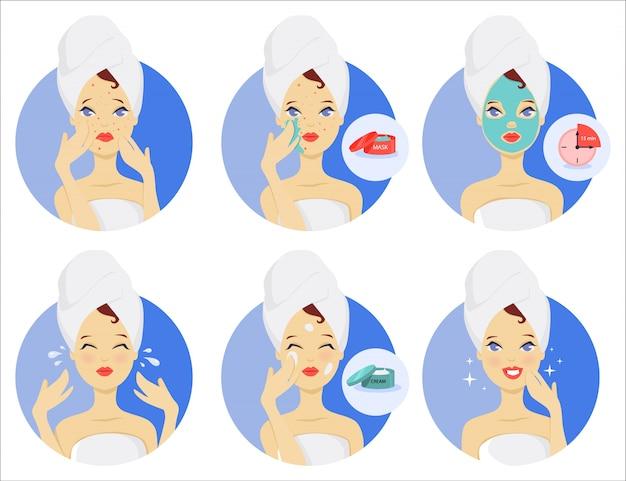 Routine di cura della pelle. maschera facciale e crema.