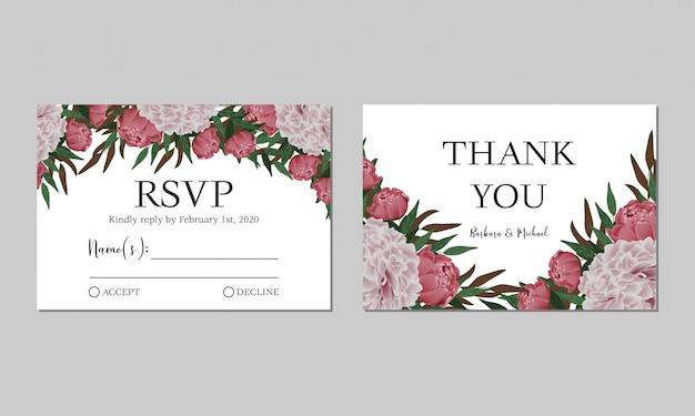 Rsvp. modello di scheda di risposta di nozze con decorazione floreale peonia