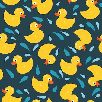 Rubber duck toy seamless pattern