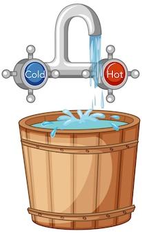 Rubinetto dell'acqua calda e fredda e secchio d'acqua in stile cartone animato
