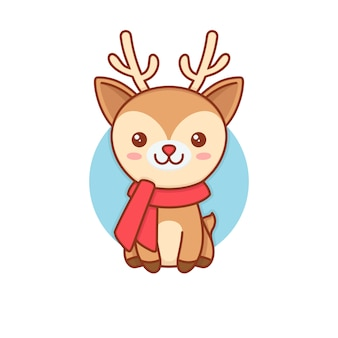 Rudolf deer kawaii illustrazione