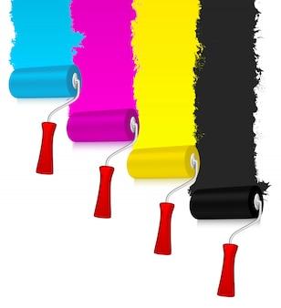 Rulli di vernice cmyk con parete decorata