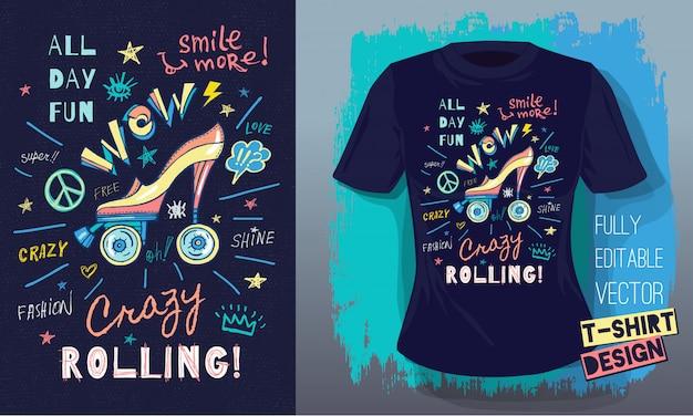 Rulli, ragazze, cavalcate, scarpe con tacco alto, skateboard in stile schizzo scarabocchi con slogan per il design di t-shirt