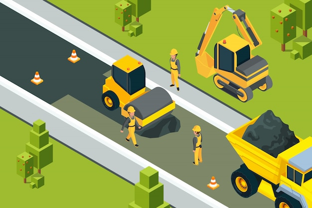 Rullo stradale asfaltato. paesaggio urbano isometrico delle macchine gialle dei costruttori dei lavoratori a terra di sicurezza della strada pavimentata urbana