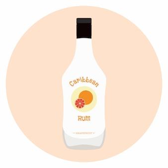Rum dei caraibi con aroma di pompelmo in bottiglia bianca per l'alcol.