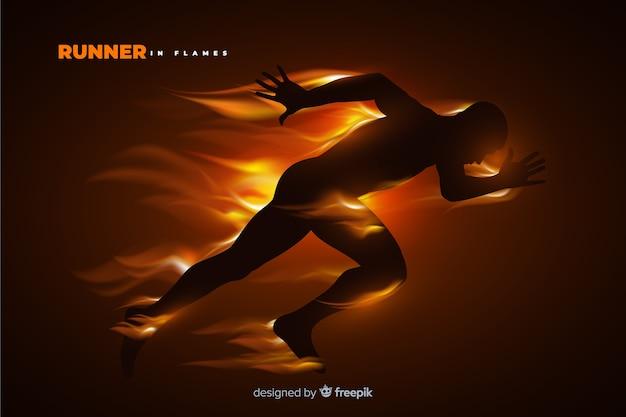 Runner silhouette in fiamme design piatto