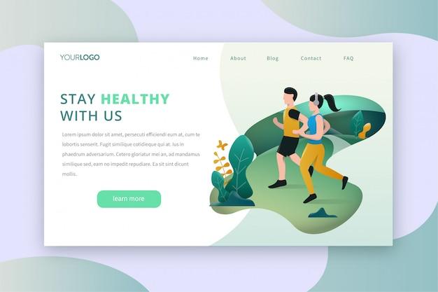Running, jogging, pagina di destinazione dello sport