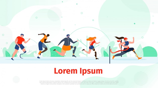 Running people with disability flat vector banner
