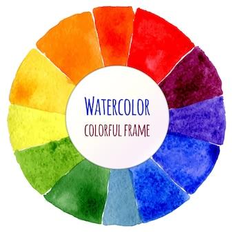 Ruota a mano a colori. spettro isolato di acquerello. illustrazione vettoriale.