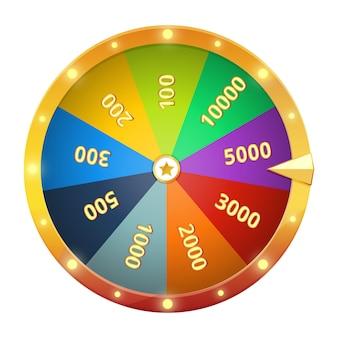 Ruota che gira con premi. roulette del gioco. illustrazione vettoriale isolato. ruota del gioco della fortuna