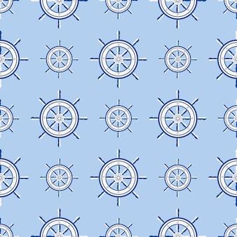 Ruota della barca marina del modello senza cuciture del timone della nave. navigazione del crogiolo di yacht di vettore con la siluetta dell'illustrazione del volante