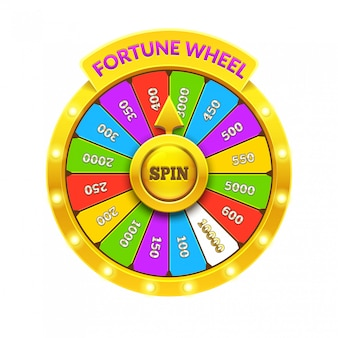 Ruota della fortuna colorata. illustrazione realistica della ruota della fortuna 3d. isolato sfondo bianco ob. eps10.