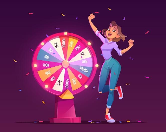 Ruota della fortuna e vincitore della ragazza fortunata nel casinò