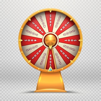 Ruota della fortuna. girando le roulette 3d spinge l'illustrazione isolata simbolo di gioco del gioco di lotteria fortunato