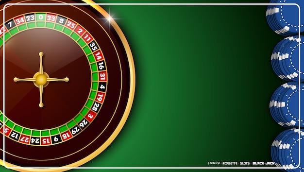 Ruota della roulette del casinò con i chip del casinò sulla tavola verde