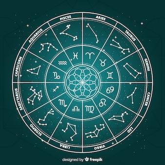 Ruota dello zodiaco piatto su sfondo di galassia