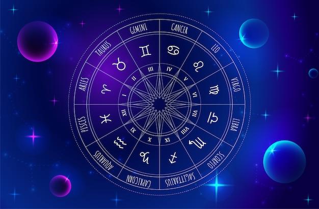 Ruota di astrologia con segni zodiacali sullo sfondo dello spazio esterno. mistero ed esoterico.