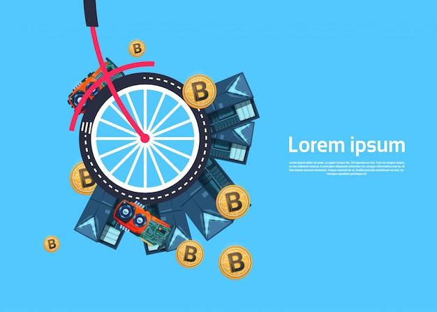 Ruota di bicicletta con modello di sfondo bitcoin