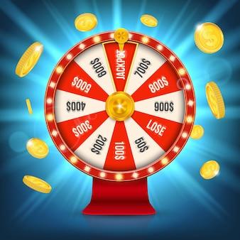 Ruota di filatura della posta di gioco della roulette di fortuna.