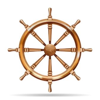 Ruota di nave in legno antico