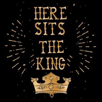 Ruvida poster vintage citazione nero e oro