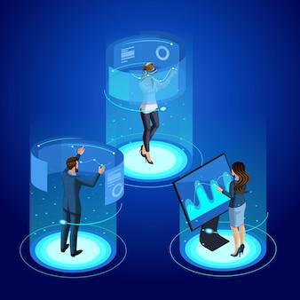 S di un moderno uomo d'affari e donna d'affari lavora con gadget, gestione dello schermo virtuale. nel mondo della realtà virtuale. tecnologia del futuro