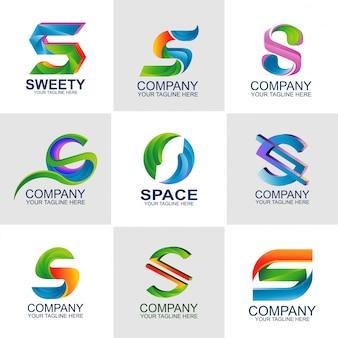 S lettera logo set elements