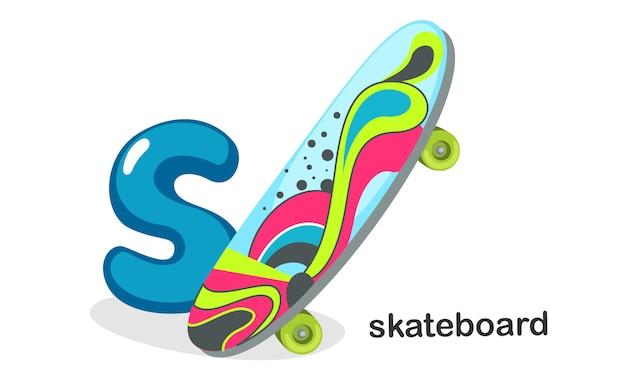 S per skateboard