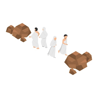 Sa'i significato rituale di camminare tra le due piccole colline di safa e marwah