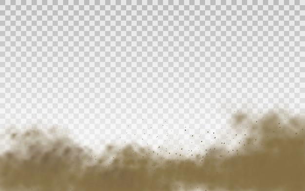 Sabbia volante. nuvola di polvere. nuvola polverosa marrone o sabbia asciutta che vola con una folata di vento, tempesta di sabbia. trama realistica di fumo marrone. .