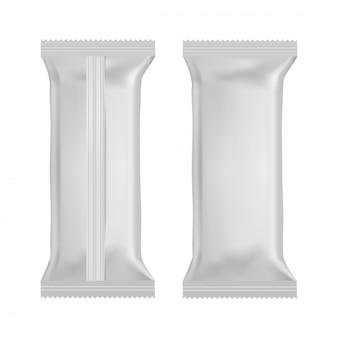 Sacchetti di cuscini spuntino cibo realistico. vista frontale e posteriore modello. vettore.