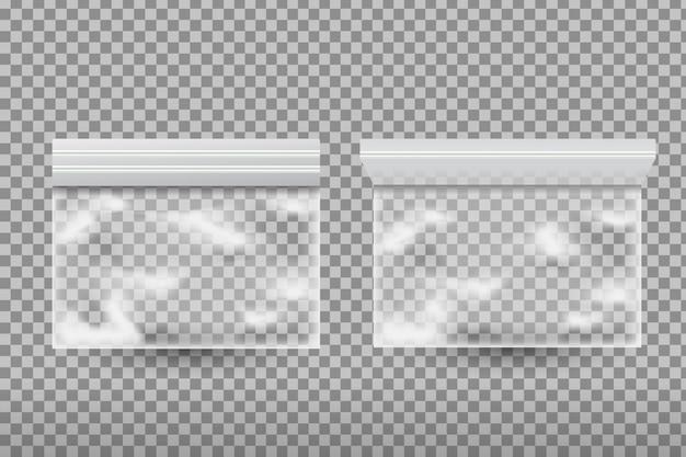 Sacchetti di plastica realistici per alimenti sullo sfondo trasparente.
