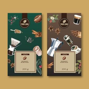 Sacchetto d'imballaggio del caffè con il ramo lascia il fagiolo, annata, illustrazione dell'acquerello