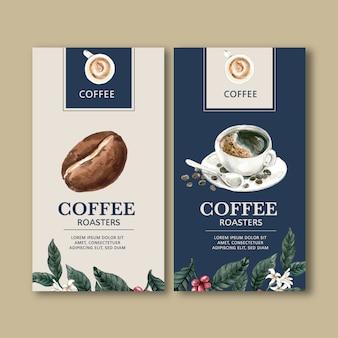 Sacchetto d'imballaggio del caffè con il ramo lascia il fagiolo, macchina del creatore, illustrazione dell'acquerello
