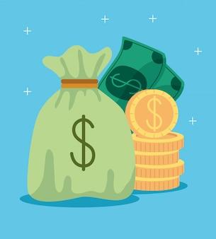 Sacchetto dei soldi con il mucchio di monete e denaro contante