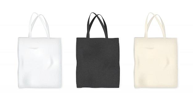 Sacchetto della spesa della tela materiale tessile su fondo bianco. progettazione grafica di oggetti.