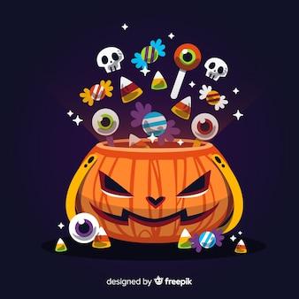Sacchetto di caramelle colorate halloween con design piatto
