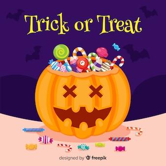 Sacchetto di caramelle di halloween design piatto
