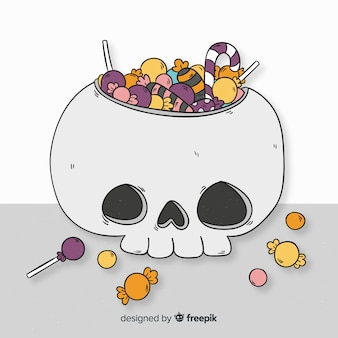 Sacchetto di caramelle di halloween disegnato a mano colorato
