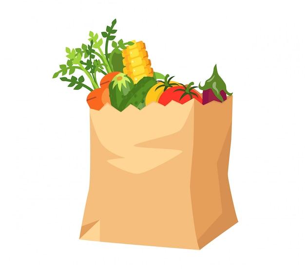 Sacchetto di carta con verdure