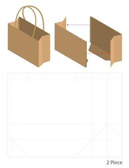 Sacchetto di carta da imballaggio fustellato e mockup sacchetto 3d