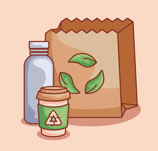 Sacchetto di carta e bottiglie ecologiche