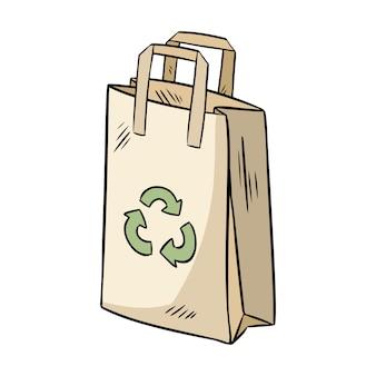 Sacchetto di carta ecologica. prodotto ecologico e privo di rifiuti. diventa verde