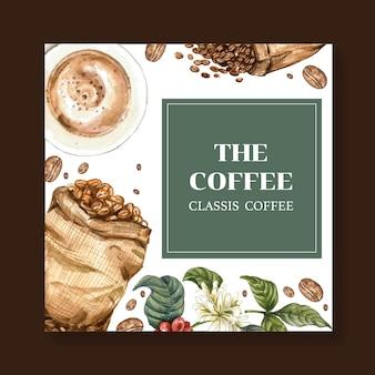 Sacchetto di chicchi di caffè arabica con tazza di caffè americano e caffettiera, illustrazione ad acquerello