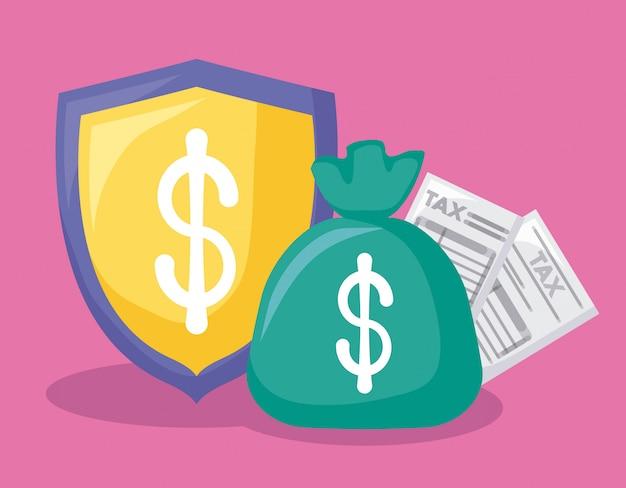 Sacchetto di denaro con economia e finanza con set di icone