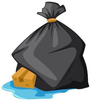 Sacchetto di immondizia sul pavimento bagnato