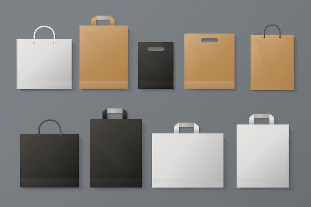 Sacchetto . realistico pacchetto di carta bianca mestiere negozio di merchandising di marca nera carta grigia. modello dello shopping di moda