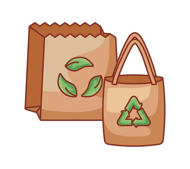 Sacchi di carta ecologici isolati