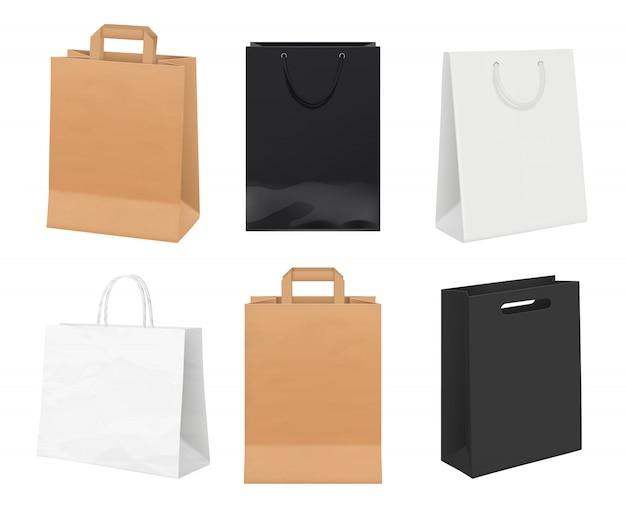 Sacchi di carta vuoti. pacchetti di identità dal modello realistico di borse per la spesa in carta bianca e kraft