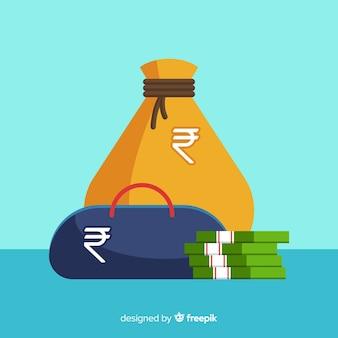 Sacchi di denaro rupia indiana